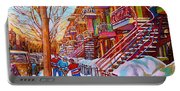Street Hockey Game In Montreal Winter Scene With Winding Staircases Painting By Carole Spandau Portable Battery Charger
