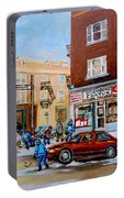 Street Hockey On Monkland Avenue Paintings Of Montreal City Scenes Portable Battery Charger