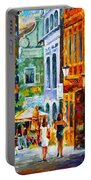 Street In Amsterdam Portable Battery Charger by Leonid Afremov