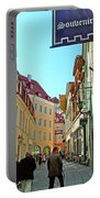 Street In Old Town Tallinn-estonia Portable Battery Charger