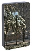 Street Lamp In The Snow Portable Battery Charger