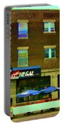 Streets Of Pointe St Charles Centre And Charlevoix Summer La Chic Regal Pub Scenes Carole Spandau Portable Battery Charger