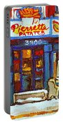 Streets Of Verdun Hockey Game At Famous Verdun Restaurant Pierrette Patates Montreal Hockey Art  Portable Battery Charger
