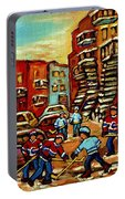 Streets Of Verdun Paintings He Shoots He Scores Our Hockey Town Forever Montreal City Scenes  Portable Battery Charger
