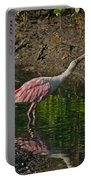 Stretched Out Pink Spoonbill Portable Battery Charger