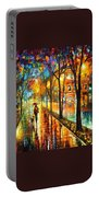 Stroll With My Best Friend - Palette Knife Oil Painting On Canvas By Leonid Afremov Portable Battery Charger