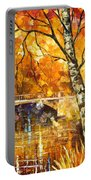 Strong Birch - Palette Knife Oil Painting On Canvas By Leonid Afremov Portable Battery Charger