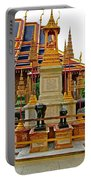 Stupa Surrounded By Elephants At Grand Palace Of Thailand In Ban Portable Battery Charger