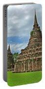 Stupas Of Wat Mahathat In 13th Century Sukhothai Historical Park-thailand Portable Battery Charger