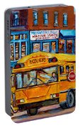 St.viateur Bagel And School Bus Montreal Urban City Scene Portable Battery Charger
