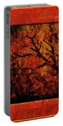 Stylized Cherry Tree With Old Textures And Border Portable Battery Charger