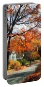 Suburban Street In Autumn Portable Battery Charger