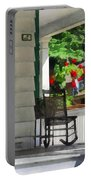 Suburbs - Porch With Rocking Chair And Geraniums Portable Battery Charger by Susan Savad
