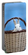 sugar the easter bunny 4 - A curious and cute white rabbit in a hand basket  Portable Battery Charger