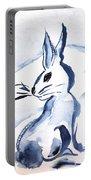 Sumi-e Snow Bunny Portable Battery Charger