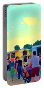Summer Family Fun Paintings Of Food Truck Art Roadside Eateries Dad Mom And Little Boy Cspandau Portable Battery Charger