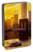 Summertime At The Brooklyn Bridge Portable Battery Charger