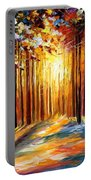 Sun Of January - Palette Knife Landscape Forest Oil Painting On Canvas By Leonid Afremov Portable Battery Charger
