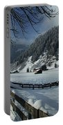 Sun On A Snowy Meadow Portable Battery Charger