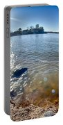 Sun Shining Over Lake Wylie In North Carolina Portable Battery Charger