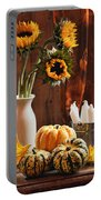 Sunflower And Gourds Still Life Portable Battery Charger