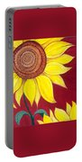 Sunflower On Red Portable Battery Charger