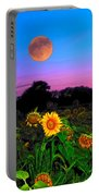 Sunflower Patch And Moon  Portable Battery Charger
