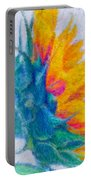 Sunflower Profile Impressionism Portable Battery Charger