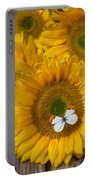 Sunflower With White Butterfly Portable Battery Charger