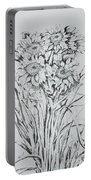 Sunflowers Black And White Portable Battery Charger