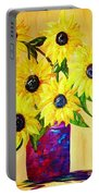 Sunflowers In A Red Pot Portable Battery Charger