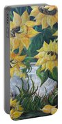 Sunflowers In An Antique Country Pot Portable Battery Charger by Eloise Schneider