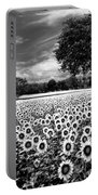 Sunflowers In Black And White Portable Battery Charger