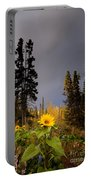 Sunflowers In Northern Garden In Fall Portable Battery Charger