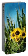 Sunflowers In The Corn Field Portable Battery Charger