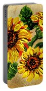 Sunflowers On Wooden Board Portable Battery Charger
