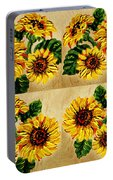 Sunflowers Pattern Country Field On Wooden Board Portable Battery Charger