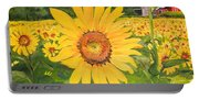 Sunflowers - Red Barn - Pennsylvania Portable Battery Charger