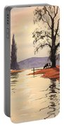 Sunlit River - Chess At Latimer Portable Battery Charger