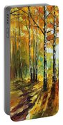 Sunny Birches - Palette Knife Oil Painting On Canvas By Leonid Afremov Portable Battery Charger