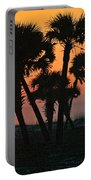 Sunrise And Group Of Palm Trees Portable Battery Charger