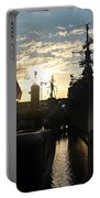 Sunrise At The Naval Base Silhouette Erie Basin Marina V6 Portable Battery Charger