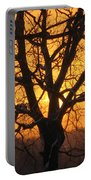 Sunrise Behind Walnut Tree Portable Battery Charger