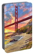 Sunset At Golden Gate Portable Battery Charger