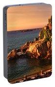 Sunset At Port Blanc - Cote De Granit Rose Portable Battery Charger