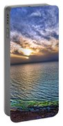 Sunset At The Cliff Beach Portable Battery Charger by Ron Shoshani