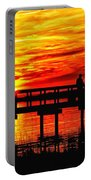 Sunset Fishing At The Pier Portable Battery Charger
