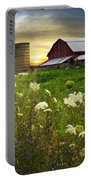 Sunset Lace Pastures Portable Battery Charger by Debra and Dave Vanderlaan