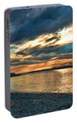Sunset On Rocky Beach Portable Battery Charger