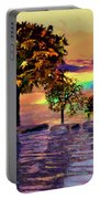 Sunset On Trees And Ocean Portable Battery Charger
